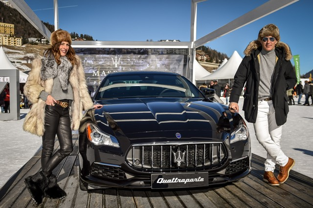 Mesarati Yolanda Sacristan and Jose Miguel Antunez with new Maserati Quattroporte